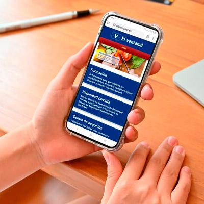 Captura de pantalla de una página web adaptada al móvil